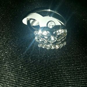 Jewelry - Silver Plated & Crystal Ring Set(size 9)